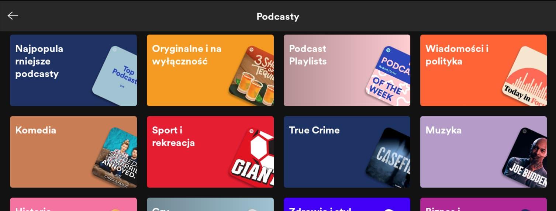 kategorie podcastów w Spotify